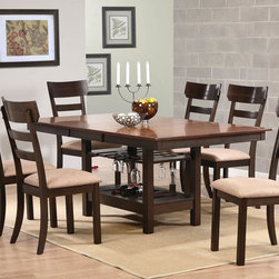 Coaster - Greenbury Dining Table - Gather your friends together for dinner with this functional dining group. Crafted from select woods and walnut veneers. The table has an 18 butterfly leaf. The clean square legs support the table extending down to a storage shelf perfect for wine glasses. Complete the set with matching chairs that consist of slightly rounded to curve back and cushioned seats for supreme comfort.