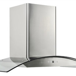 "Cavaliere - Cavaliere 36"" Wall Mount Hood - Wall Mounted Range Hood with 6 Speeds, Timer Function, LCD Keypad, Baffle Filters, and Halogen Lights"