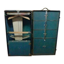 """Pre-owned Hartman Wardrobe Trunk - This Vintage travelers wardrobe trunk has that good look and smell of a truly vintage piece. Seller says, """"I found this item in a storage unit in Palo Alto, from a owner, who knew timeless and priceless items."""""""