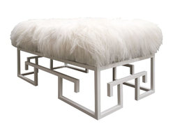 vanCollier - Jeannie Bench - The Jeannie Bench from the Kountouris Collection. Greek key inspired steel base with Tibetan hide upholstered top. Measures 48″ w x 22″ h x 24″ d with 1″ tubing.