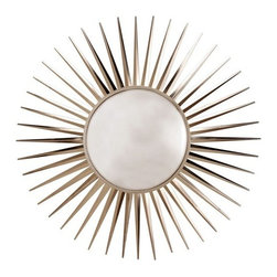 Arteriors - Arteriors Astro Convex Mirror - The Astro Mirror from Arteriors has a great retro feel to it. The iron star burst frame is finished in a polished nickel and features a fun convex mirror in the center. A classic star burst design mirror. 49'' Dia