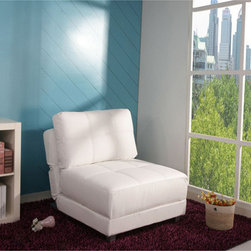 None - New York White Convertible Chair Bed - This white leatherette convertible chair bed is a smart option for small spaces. Unfold the chair in seconds for a comfortable place for guests to sleep. The headrest and backrest can be adjusted, making this comfortable chair customizable.