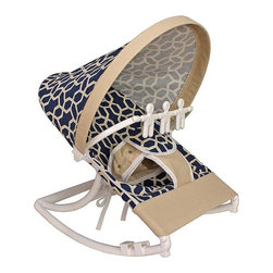 Hoohobbers - Hoohobbers Pebbles Navy Rocking Infant Rocker Seat Multicolor - 271-75 - Shop for Rocking Toys from Hayneedle.com! With its simple pattern and deep blue background the Hoohobbers Pebbles Navy Rocking Infant Rocker Seat give your little one a beautiful and fun area to sit. Designed to cradle your baby like a mother's arms this rocker has a deep soft sling which surrounds and fully cradles your baby. Your baby will be able to create a smooth gentle and calming rocking motion while moving helping him to calm himself. A removable toy bar with spinning characters will help to keep her entertained as she sits in the rocker. Its smooth solid frame locks to help keep your baby safe while the stabilizing feet prevents tipping. Its protective hood helps to block light and drafts to keep your baby comfortable. Its water safe machine washable fabric is easy to clean so you don't have to worry about accidents and spills. Simply fold this rocker up when you're on the go and bring it with you wherever you're traveling. Additional Features Baby calms self with gentle rocking motion 4 lbs rocker folds for easy transportation Removable toy bar with spinning toys Solid smooth frame which locks Stabilizing feet helps keep baby safe Protective hood helps block light and drafts About HoohobbersBased in Chicago Hoohobbers has designed and manufactured its own line of products since 1981 beginning with the now-classic junior director's chair. Hoohobbers makes both hard goods (furniture) and soft goods. Hoohobbers' hard goods are not your typical furniture products; they fold are lightweight and portable and are made to be carried by children all around the house. Even outdoors Hoohobbers' hard goods are 100 percent water-safe. At the same time they are plenty durable and can take the abuse children often give. Hoohobbers' soft goods are fabric items ranging from bibs to bedding from art smocks to Moses baskets. Hoohobbers' products are recognized by independent third parties for their quality and performance. Hoohobbers has received Best Design Awards from America's Juvenile Products Association each time selected from more than 20 000 products. Hoohobbers has also received the Parents' Choice Award and no Hoohobbers product has ever been subject to consumer recall. Furthermore the company's products are often featured in leading women's and children's publications.