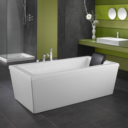 Neptune - Neptune | Ametys Soaking Tub - Made in Quebec, Canada by Neptune. Visit our Neptune Bathtub Buying Guide to help you determine which tub is right for you. The Ametys Soaking Tub delivers superior comfort and a cutting edge, minimalistic design. As the most simple of all the tub choices, the soaking tub does not need to be connected to any electric outlets, enabling it to be a striking statement piece anywhere in the bathroom. This rectangular beauty will modernize any bathroom its placed in with clean lines and simple yet solid construction. Product Features: