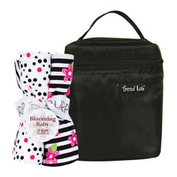 "Trend Lab - Bouquet Set - Zahara - Bottle Bag & Burp Cloth - Trend Lab's Zahara Bottle Bag and Burp Cloth Set is the perfect gift for any mom to be! Set includes a solid black insulated bottle bag and four burp cloths each with fun, modern prints and solids on the front and terry on the back. Zippered closure on the bottle bag allows temperature control keeping bottles and snacks hot or cold. Durable nylon fabric easily wipes clean. Bottle bag can hold 2 standard bottles. Burp cloth patterns include: one black and white zebra print, one black and paradise pink confetti dot print on a white background, one black and white stripe print with paradise pink and electric lime floral accents and one that has solid paradise pink rosette velour. Bottle bag measures 5"" x 7"" x 3"" and each burp cloth measures 13"" x 10""."