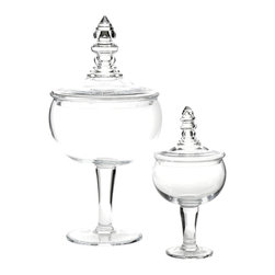 Global Views - Global Views Glass Apothecary Jar - The Global Views Apothecary jar tops contemporary tables with elegant style. Curving in graceful form, the glass vessel rises from a pedestal for sophisticated storage.Available in two sizes