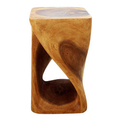 Kammika - Twist Stool 12x12x20 inch Hgt Sust Monkey Pod Wood w Eco Friendly Oak Oil Finish - Our Sustainable Monkey Pod Wood Twist Stool 12 inch x 12 inch x 20 inch height with Eco Friendly, Natural, Food-safe Livos Oak Oil Finish is carved from sustainable Monkey Pod wood and is completely eco friendly. The beauty of this design lies in its simplicity. It is bold, yet gentle; rustic yet refined. One quarter twists support this piece, which can serve as an end table, stand or stool; they can serve as a serving table or bench when put together. This versatile piece is solid and reliable; each is hand carved - no two are alike. Craftspeople from the Chiang Mai area in Northern Thailand create these pieces with the simplest of tools. Each piece is a Work of Functional Sustainable Monkey Pod Wood Eco Friendly Art! After each Monkey Pod wood (Acacia, Koa, Rain Tree grown for wood carving) piece is dried, and carved, it is rubbed in Livos Oak oil creating a water resistant and food safe matte finish. The light and dark portions of wood turn to darker shades of brown over time and the alkaline in the oils creates a honey orange color. There is no oily feel, and cannot bleed into carpets. We make minimal use of electric hand sanders in the finishing process. All products are dried in solar or propane kilns. No chemicals are used in the process, ever. This eco friendly piece, made from the thick branches of the quick-growing Acacia tree in Thailand - where each branch is cut and carved to order (allowing the tree to continue growing), is packaged with cartons from recycled cardboard with no plastic or other fillers. As this is a natural product, the color and grain of your piece of Nature will be unique, and may include small checks or cracks that occur when the wood is dried. Sizes are approximate. Products could have visible marks from tools used, patches from small repairs, knot holes, natural inclusions or holes. There may be various separations or cracks on your piece w