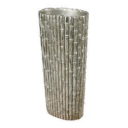 Sterling Industries - Silver Bamboo Floor Standing Vase - Silver Bamboo-Bamboo Floor Standing Vase