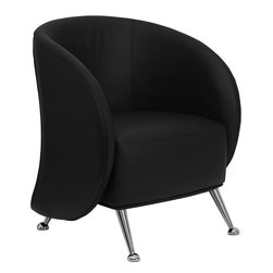 Flash Furniture - Jet Black Leather Reception Chair - Talk about feeling welcome, this leather reception chair will wrap you and your guests in comfort and ease. Looking like the home office pod chair has sprouted wings; this jet black chair has a deep seated cushion and perches on shiny extended chrome legs with rounded feet.