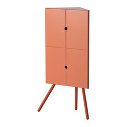 Ikea PS 2014 Corner Cabinet, Pink - This modern pink cabinet has a trendy retro vibe. It fits snugly in the corner and has plenty of storage space.