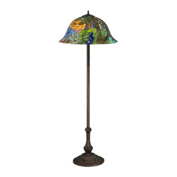 Meyda Tiffany - Meyda Tiffany Landscape Tiffany Floor Lamp X-72073 - The landscape pattern of the art glass shade on this Meyda Tiffany floor lamp is visually stunning thanks to its elegant use of colors and details. From the Landscape Collection, the base also features coordinating botanical detailing and comes in a warm bronze toned finish that completes the look.