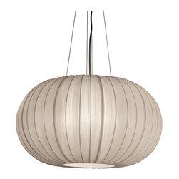 Trend Lighting - Shanghai Large Oval Pendant - A modern take on a classic Japanese lantern, this elegant oval pendant is light and lovely. With its sheer pearlescent shade and soft curves, it's an enchanting way to illuminate your room.