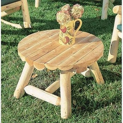 Rustic Natural Cedar Furniture Round Outdoor Coffee Table - Accentuate your patio or outdoor design with the Round Rustic Coffee Table. This table is designed to stand just below arm level of your Adirondack chair to keep your book magazine or glass of iced tea in lazy reach. The design of this coffee table uses real cedar logs cut and planed smooth for a truly attention-getting look. The rounded legs of this table create a sturdy structure with rustic appeal that is functional for both indoor and outdoor use. Choose from 27 or a 36 inch sizes for a perfect casual fit.About Rustic Natural Cedar Furniture Co.For over 30 years Rustic Natural Cedar Furniture Company has been manufacturing quality cedar products for the home and garden. Their broad variety of products includes bedroom sets tables and seating groups gliders rockers swings arbors and other garden products. These fine furnishings are handcrafted with care in Quebec and British Columbia and shipped worldwide for your enjoyment.