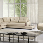 Light Gray Leather Sectional Sofa Chaise Swivel Chair Modern Living - Features