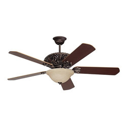 """Emerson - Arts and Crafts - Mission 52"""" Emerson Zurich Oil Rubbed Bronze Ceiling Fan - Featuring an ornately cast housing design reminiscent of old-world craftsmen the Emerson Zurich fan in oil rubbed bronze finish complements any room. Its distinctive flowing style and coordinating blade holders give this fan a rich elegant feel. The exquisite amber mist glass light kit includes three compact fluorescent bulbs while five dark cherry/medium oak blades complete this fabulous fixture. Oil rubbed bronze finish. Five dark cherry/medium oak wood blades. Amber mist glass light kit. Includes three 13 watt CFL bulbs. One 4 1/2"""" downrod included. Pull chain operation. 52"""" blade span. 14 degree blade pitch.  Oil rubbed bronze finish.    Five dark cherry/medium oak wood blades.   Amber mist glass light kit.   Includes three 13 watt CFL bulbs.   Pull chain operation.    52"""" blade span.   14 degree blade pitch.    One 4 1/2"""" downrod included.   Fan height 13-1/2"""" ceiling to blade (with 4-1/2"""" downrod).   Fan height 14-1/2"""" ceiling to bottom of light kit (with 4-1/2"""" downrod).  Canopy 7"""" wide."""