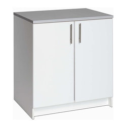 Prepac - Elite 32 in. Base Cabinet w 2 Doors in White - If you want to get organized but you're not quite sure of all the pieces you need, this white base storage cabinet is a great start. It has a melamine top so you can use it as a workspace, too. This two-door storage cabinet is a great piece for a workshop, garage or laundry room. It has a one-inch thick melamine top that lets you spread your stuff out to work. Eliminate clutter and also add an attractive twist to any garage or basement. * Includes an instruction booklet. 1 in. thick worktop with a durable melamine surface. One adjustable shelf. Stylish brushed metal handles. Doors with high quality European style 6-way adjustable hinges. MDF doors with profiled rounded edges. Durable laminate finish. CARB-compliant. Warranty: Five years limited. Made from laminated composite woods with a sturdy MDF backer. Made in North America. Assembly required. 32 in. W x 24 in. D x 36 in. HThe Elite 32 in. Base Cabinet is the perfect addition to your laundry room, workshop or garage.