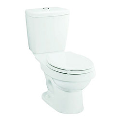 Sterling - Sterling Karsten Elongated Toilet - 402028-0 - Shop for Toilet from Hayneedle.com! The Sterling Karsten Elongated Toilet is spacious and comfortable and comes with a two-button actuator that gives you water-saving flush options for solid and liquid waste. This state-of-the-art toilet boasts vitreous china construction that is as dependable as it is attractive. A protective coating of hard gloss is also available in your choice of white almond or biscuit so you can give your bathroom the look you want. Only 1.6 or .8 gallons are used in every flush to meet today's water conservation standards. Dual ProForce technology saves the average family of 4 up to 24 000 gallons of water per year. Measures 31L x 15W x 29.25H inches.About SterlingEstablished in 1907 and quickly recognized as a leading manufacturer of faucets and brassware Sterling has been known for their diversity of products and industry-leading designs for over a century. In 1984 Sterling was acquired by Kohler Co. to create a mid-priced full-line plumbing brand and allow Kohler the opportunity to sell their products in retail stores. Over the years Kohler quickly began acquiring other companies to help enhance the Sterling line of products that was quickly growing into the likes of stainless steel sinks compressed fiberglass bathtubs and enclosures and vitreous china products. With that said Kohler was able to take a modestly sized faucet company and turn it into a successful full-line brand. Today Sterling is a brand of Kohler co. and their diversity in products craftsmanship and innovation over a broad range of price points makes them a recognized leader in kitchen and bath design.