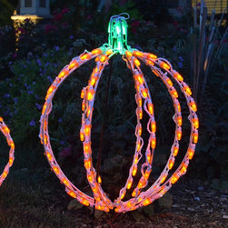 Brite Ideas - 20 in. LED 3D Pumpkin Lighted Display - 114 Bulbs Multicolor - LED-PK3D20 - Shop for Holiday Ornaments and Decor from Hayneedle.com! This 20 in. LED 3D Pumpkin Lighted Display - 114 Bulbs is a fun display whether you're welcoming the Great Pumpkin or just decorating for Halloween. This three-dimensional pumpkin is lighted with 114 bright orange and green bulbs. It stands 20 inches tall so is dramatic on its own or displayed in a group. This pumpkin features a sturdy powder-coated steel frame to hold its shape. It comes complete with replacement bulbs and clips. About Brite IdeasEstablished in Omaha Neb. in 1990 Brite Ideas Decorating Inc. has become a holiday lighting industry leader providing customers across the United States with durable cutting edge lighting displays for both residential and commercial applications.Featuring a full line of innovative LED products and uniquely designed displays Brite Ideas appeals to tradition modern simple and even ornate tastes. It is their mission to promote excellence in the holiday lighting industry. With that in mind Brite Ideas products go above and beyond the standard to create the best holiday atmosphere for you.