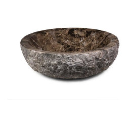"Xylem - Xylem 17.3 Round Stone Vessel with Rough Exterior, Dark Emporador (MAVE172CDER) - Xylem MAVE172CDER 17.3"" Round Stone Vessel with Rough Exterior, Dark Emporador"
