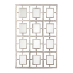 Uttermost Dodici Silver Mirror - Metal frame finished in a lightly antiqued silver leaf. Featuring 12 small mirrors, this metal frame has an open design to allow wall color to show thru. The finish is lightly antiqued silver leaf. May be hung horizontal or vertical.