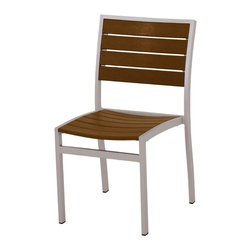Polywood - 33.5 in. Eco-friendly Side Chair in Teak - Set of 2 - Solid, heavy-duty construction withstands natures elements. Whether used alone or paired with one of the Euro dining tables, this chair will bring a fresh, modern look to your outdoor entertaining area. Polywood lumber requires no painting, staining, waterproofing, or similar maintenance. Polywood lumber does not splinter, crack, chip, peel or rot and it is resistant to corrosive substances, insects, fungi, salt spray and other environmental stresses.