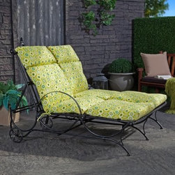 International Caravan Wave Adjustable Double Chaise Lounge - You and a friend can soak up some rays and some great conversation together on the International Caravan Wave Adjustable Double Chaise Lounge. An elegant wave design decorates the sides of this wrought iron chaise and decorative balls can be found at each intersecting point. The perfectly rounded armrests add an interesting dimension to this piece. You'll love the comfort you get from the four-position adjustable backrest and the wheels on the back make it easy to move. The black and dark green marble finish features advanced EP protection with rust protection. It's much stronger and reliable than powder coating so this piece will look great season after season. Add a little extra comfort by selecting one of the optional cushions. They're available in several colors and patterns.Dimensions: Overall: 75L x 56W x 38H inchesSeat measures 55 inches longWeight capacity of 400 pounds