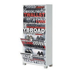 Sarmog - 4 Double-Depth Door Shoe Rack With Slub White Base and Serigraph NYC Design - A designer shoe rack for your high quality personal bathroom.