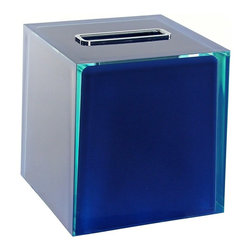 Gedy - Thermoplastic Resin Square Tissue Box Cover, Blue - A decorative piece.
