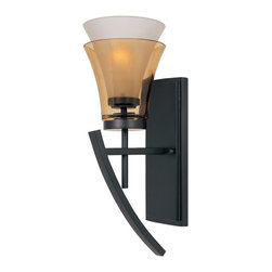 Designers Fountain - Designers Fountain 83101-ORB Wall Sconce - Oil Rubbed Bronze Finish, Clear Champagne & Frosted White Glass Glass/Shade