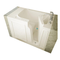"Meditub - Meditub Gel-Coat Tub - The Meditub 29""x52"" walk in tub features Meditub's knee cutaway technology. The door can be placed on the right on left side and has a knee cutaway so that the bather can open and close the door while seated in the 17"" ADA Compliant contoured seat. This walk in tub is perfect for new construction and/or retro fitting because of its industry standard size. It is available in several variations such as with whirlpool only, air only, with a combination of both whirlpool and air systems (dual system), or as a soaker, with no jets at all. Sit down and immerse yourself in a relaxing atmosphere, while all your stress disappears. 29""x52"" walk in bath tub comes with a stainless steel frame for long lasting strength and adjustable feet for easy installation and leveling."