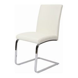 Pastel Furniture - Pastel Furniture Monaco 37 Inch Side Chair in White (Set of 2) - The Monaco side chair exemplifies handsome proportions and bold design. With simple lines mixed with curves for comfort, this beautiful chair adds style and elegance to the dining experience. The chair is upholstered in Pu Ivory with a sturdy Chrome legs.