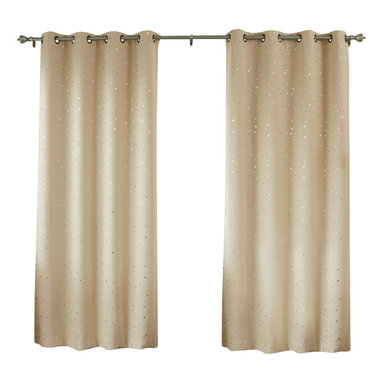 "Best Home Fashion - Grommet Goldstar Print Thermal Insulated Blackout Curtain Set, Beige, 104""w X 63 - Goldstar Foil Printed Grommet Top Blackout curtains add an unexpected twinkle to practical window treatments."