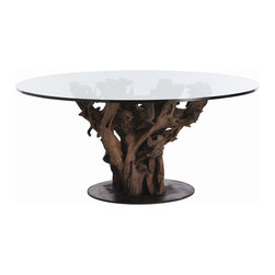 Arteriors - Kazu Dining Table - The naturally occuring rhythm of the root creates a dramatic stained wood and iron base for this glass topped dining table that seats 8 comfortably.