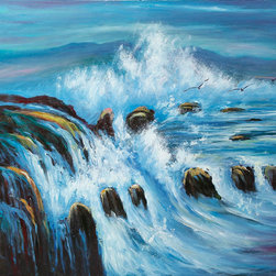 """overstockArt.com - Threatening Tides - 20"""" X 24"""" Oil Painting On Canvas This is a remarkable oil painting with exceptional use of color, detail and brush strokes. Threatening Tides exhibits the allurement, charm and elegance of the oceanic presence. Raging whitecaps, beautiful rocks and soaring seagulls are just a few of the many details this painting has to offer. A delightful setting that is sure to bring many admirers."""