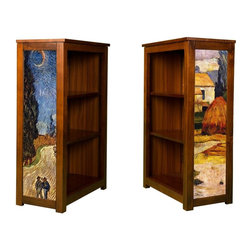 Kelseys Collection - Book Cabinet 3 shelf Arles and Cypress Road - Kelsey's Collections' solid radiata pine Book Cabinet features three adjustable  storage shelves with two giclee prints on the side panels, showcasing artwork by Van Gogh and Gauguin. The giclee print have three coats of UV inhibitor.   Dimensions are 33BY22BY12 Net weight 20 pounds. Three adjustable shelves. Estimated assembly time 20 minutes.