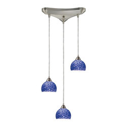 ELK Lighting - Three Light Satin Nickel Pebbled Blue Glass Multi Light Pendant - Three Light Satin Nickel Pebbled Blue Glass Multi Light Pendant