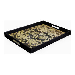 Jay Import Co. - Notions Fleur De Lis Rectangular Tray with Handles, Black/Gold - Give guests the royal treatment with this stylized tray. The regal fleur-de-lis pattern will create a tone of opulence for anything you choose to carry on it.