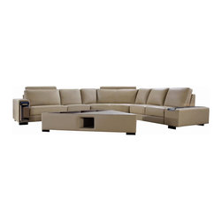 VIG Furniture - Tera Beige Top Grain Leather Sectional Sofa With Built-in Storage - The Tera sectional sofa will be the perfect addition for any smaller area looking for a touch of modern design. This sectional comes upholstered in a beautiful beige top grain leather in the front where your body touches. Skillfully chosen match material is used on the back and sides where contact is minimal. High density foam is placed within the cushions for added comfort. The sectional features a built-in storage pull-out cubby within the armrests. A matching coffee table comes included with the sectional.