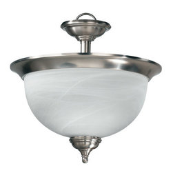 Quorum International - Quorum International Q2135 Three Light Semi-Flush Ceiling Fixture Ashto - *Ashton Dual MountChoose Ashton's classic style and clean lines for your traditional or modern interior. Substantial half-sphere glass radiates a welcoming light. Ashton has two finish combinations from which to make your choice � authentic Old World with Scavo glass and Beige Fabric shades or clean Satin Nickel with Alabaster glass and White Fabric shades.Bulbs: (3) 60W Candelabra
