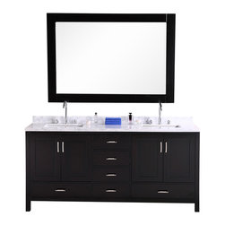 """Design Element - Design Element London 72"""" Espresso Modern Double Square Sink Vanity Set - This version of the London 72"""" vanity set is elegantly constructed of solid hardwood. The white Carrera Marble countertop's classic beauty and contemporary styled cabinetry bring a crisp, clean look to any bathroom. Seated at the base of the double ceramic sinks are chrome finished pop-up drains designed for easy one-touch draining. The London has ample storage, which includes two large drawers, four center drawers, and two soft-closing cabinets accented with satin nickel hardware. Mirrors and faucets are not included."""