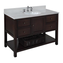 Kitchen Bath Collection - New Yorker 48-in Bath Vanity (White/Chocolate) - This bathroom vanity set by Kitchen Bath Collection includes a chocolate cabinet with soft close drawers, white marble countertop, single undermount ceramic sink, pop-up drain, and P-trap. Order now and we will include the pictured three-hole faucet and a matching backsplash as a free gift! All vanities come fully assembled by the manufacturer, with countertop & sink pre-installed.