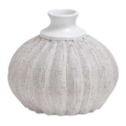 """Benzara - Lightweight and Weather Resistant Ceramic Quasa Vase in Terracotta - Lightweight and weather resistant ceramic quasa vase in terracotta. Presenting a Moroccan flair to the living space the short vase design with a hammered bulb is ideal for a floral showcase of flowers from the garden. It comes with the following dimensions. Dimension: 10"""" W x 10"""" D x 9"""" H. Some assembly may be required."""