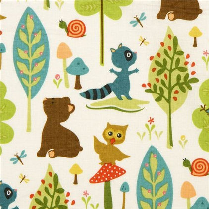 fabric Riley Blake animal fabric with owl racoon bear tree