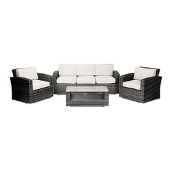 "Reef Rattan - Reef Rattan Abaco 4 Pc Conversation Set with Deep Seating Sofa - Grey Rattan / B - Reef Rattan Abaco 4 Pc Conversation Set with Deep Seating Sofa - Grey Rattan / Beige Cushions. This patio set is made from all-weather resin wicker and produced to fulfill your needs for high quality. The resin wicker in this patio set won't fade, shrink, lose its strength, or snap. UV resistant and water resistant, this patio set is durable and easy to maintain. A rust-free powder-coated aluminum frame provides strength to withstand years of use. Sunbrella fabrics on patio furniture lends you the sophistication of a five star hotel, right in your outdoor living space, featuring industry leading Sunbrella fabrics. Designed to reflect that ultra-chic look, and with superior resistance to the elements in a variety of climates, the series stands for comfort, class, and constancy. Recreating the poolside high end feel of an upmarket hotel for outdoor living in a residence or commercial space is easy with this patio furniture. After all, you want a set of patio furniture that's going to look great, and do so for the long-term. The canvas-like fabrics which are designed by Sunbrella utilize the latest synthetic fiber technology are engineered to resist stains and UV fading. This is patio furniture that is made to endure, along with the classic look they represent. When you're creating a comfortable and stylish outdoor room, you're looking for the best quality at a price that makes sense. Resin wicker looks like natural wicker but is made of synthetic polyethylene fiber. Resin wicker is durable & easy to maintain and resistant against the elements. UV Resistant Wicker. Welded aluminum frame is nearly in-destructible and rust free. Stain resistant sunbrella cushions are double-stitched for strength and are fully machine washable. Removable covers made with commercial grade zippers. Tables include tempered glass top. 5 year warranty on this product. PLEASE NOTE: Throw pillows are NOT included. Three Seat Sofa: W 73"" D 29"" H 31"", Chairs (2): W 29"" D 29"" H 31"", Coffee Table: W 39"" D 20"" H 15"""