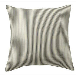 """Custom Fabric 24"""" Pillow Cover, Knife-Edge, Ticking Stripe Harbor Blue - Create beautiful custom pillows with your choice of over 75 high-quality upholstery fabrics. Square: 18"""" or 24""""  Lumbar: 8"""" x 30"""" Bolster: 14"""" x 36"""" Reverses to same. Knife edge with hidden zipper closure; insert sold separately. Imported."""