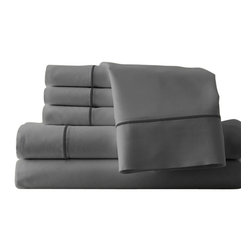 1000 thread count 6-piece sheet set   Cal King Silver/Graphite - Enjoy the luxury and style of the super soft 1000 bed sheets with super soft comfort. These beautiful super soft sheet sets feel great, look great, and launder like a dream. The 1000 Super Soft sheet sets made from super soft brushed polyester micro fiber have the comfort, feel, luxury, and softness of 1000 thread count Egyptian Cotton. Full, Queen and King size sheet sets with deep pockets that fit today's extra thick mattresses.