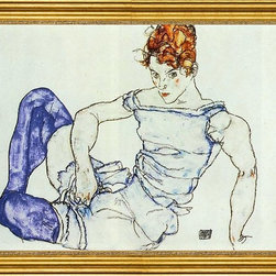 "Egon Schiele-16""x24"" Framed Canvas - 16"" x 24"" Egon Schiele Seated Woman in Violet Stockings framed premium canvas print reproduced to meet museum quality standards. Our museum quality canvas prints are produced using high-precision print technology for a more accurate reproduction printed on high quality canvas with fade-resistant, archival inks. Our progressive business model allows us to offer works of art to you at the best wholesale pricing, significantly less than art gallery prices, affordable to all. This artwork is hand stretched onto wooden stretcher bars, then mounted into our 3"" wide gold finish frame with black panel by one of our expert framers. Our framed canvas print comes with hardware, ready to hang on your wall.  We present a comprehensive collection of exceptional canvas art reproductions by Egon Schiele."