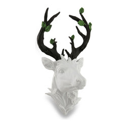 Zeckos - Chic White Deer Head with Leafy Brown Antlers Sculptural Wall Hanging - This deer head wall sculpture really captures a sleek backwoods lodge look with its stark white finish showing off a wide rack of antlers featured in earthy brown and bearing green leaves. It's the perfect accent for homes keen on nature or wildlife. Cast in resin, this wall gem measures 11 inches (28 cm) high, 7.5 inches (19 cm) wide and releases from the wall a full 7 inches (18 cm) for a truly unique three-dimensional display It easily hangs on the wall with just a single nail or screw using the attached hanger on the back. Wherever you choose to display this chic deer head wall hanging, it's sure to be admired, and makes a wonderful gift any deer enthusiast is sure to admire