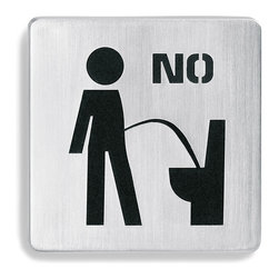 "Blomus - Stainless Steel ""No Restroom"" Square Sign - Stainless steel ""No Restroom"" self-adhesive door sign by blomus has a black rubber inset which contrasts for high visibility."