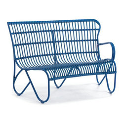 Grandin Road - Rizza Right-facing Armchair - Retro-modern, curved outdoor sectional. Versatile, modular design; add more pieces and make a larger conversation circle. Crafted in the style of traditional rattan and made to live outdoors. Extra deep, contoured seats. Frames made from colorfully powdercoated, all-weather aluminum. Revel in the season as you lounge in the deeply contoured seats and bold, colorful design of our retro-modern Rizza outdoor sectional. Experience the same timeless details found in our Rizza outdoor chair and loveseat, translated into curved, modular seating. Each piece is made in the fashion of traditional rattan, but is crafted from all-weather aluminum that's sculpted and tightly wrapped with colorful resin so it's made to live outdoors for seasons to come. Select your favorite color and get ready to lounge and relax all season long.  .  .  .  .  . Seats and seat backs sculpted from colorful resin strips and strands . Coordinates perfectly with the Rizza Collection . A Grandin Road exclusive.